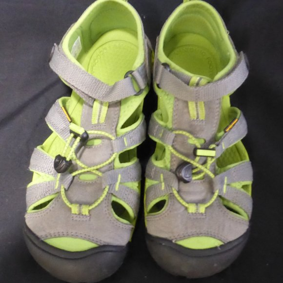 KEEN boy's grey and green sandals.  Velcro strap